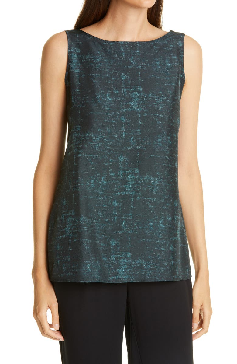 EILEEN FISHER Stretch Organic Cotton Long Tank, Main, color, FOREST NIGHT