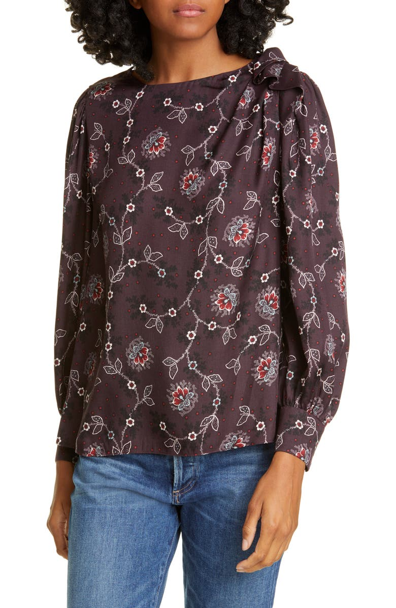 REBECCA TAYLOR Claudine Silk Blend Top, Main, color, 504