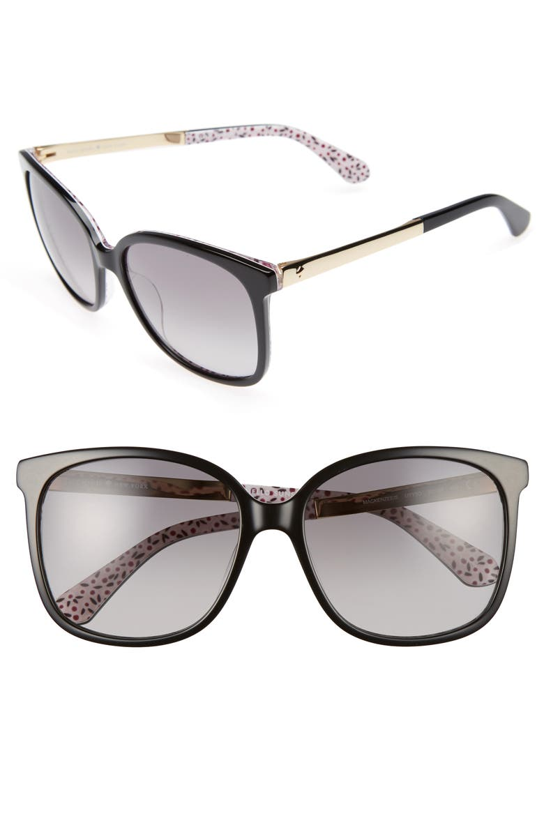 KATE SPADE NEW YORK mackenzee 57mm sunglasses, Main, color, BLACK/ PATTERN RED