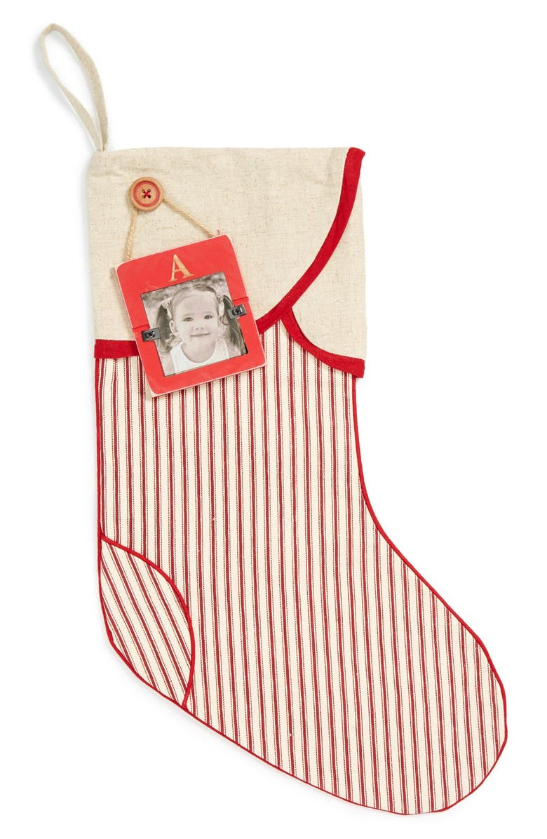 MUD PIE Linen Christmas Stocking & Initial Frame Ornament, Main, color, RED/ WHITE-A