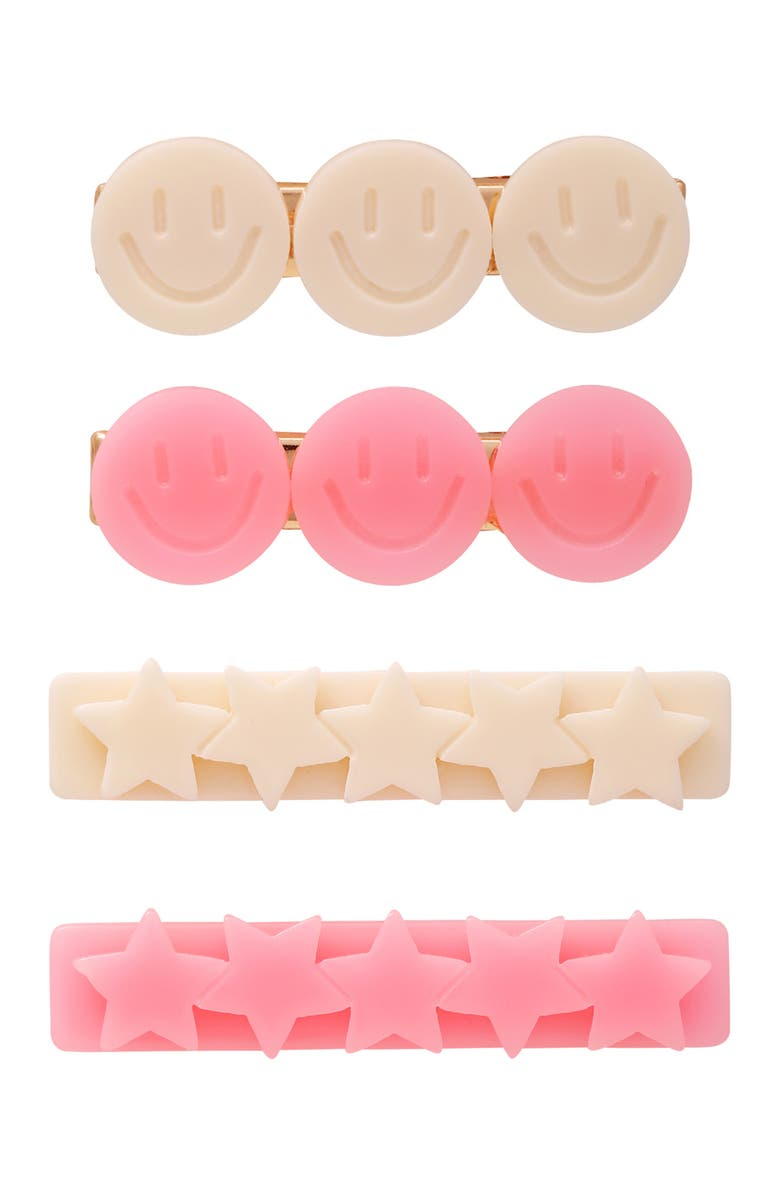 BERRY Star & Smiley Face Hair Clips - Pack of 4, Main, color, PINK/PEACH