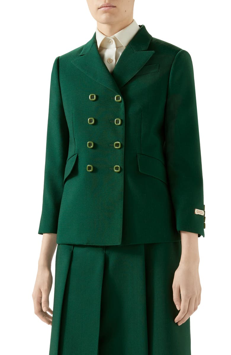 GUCCI Double Breasted Mohair & Wool Jacket, Main, color, BASIL LEAF