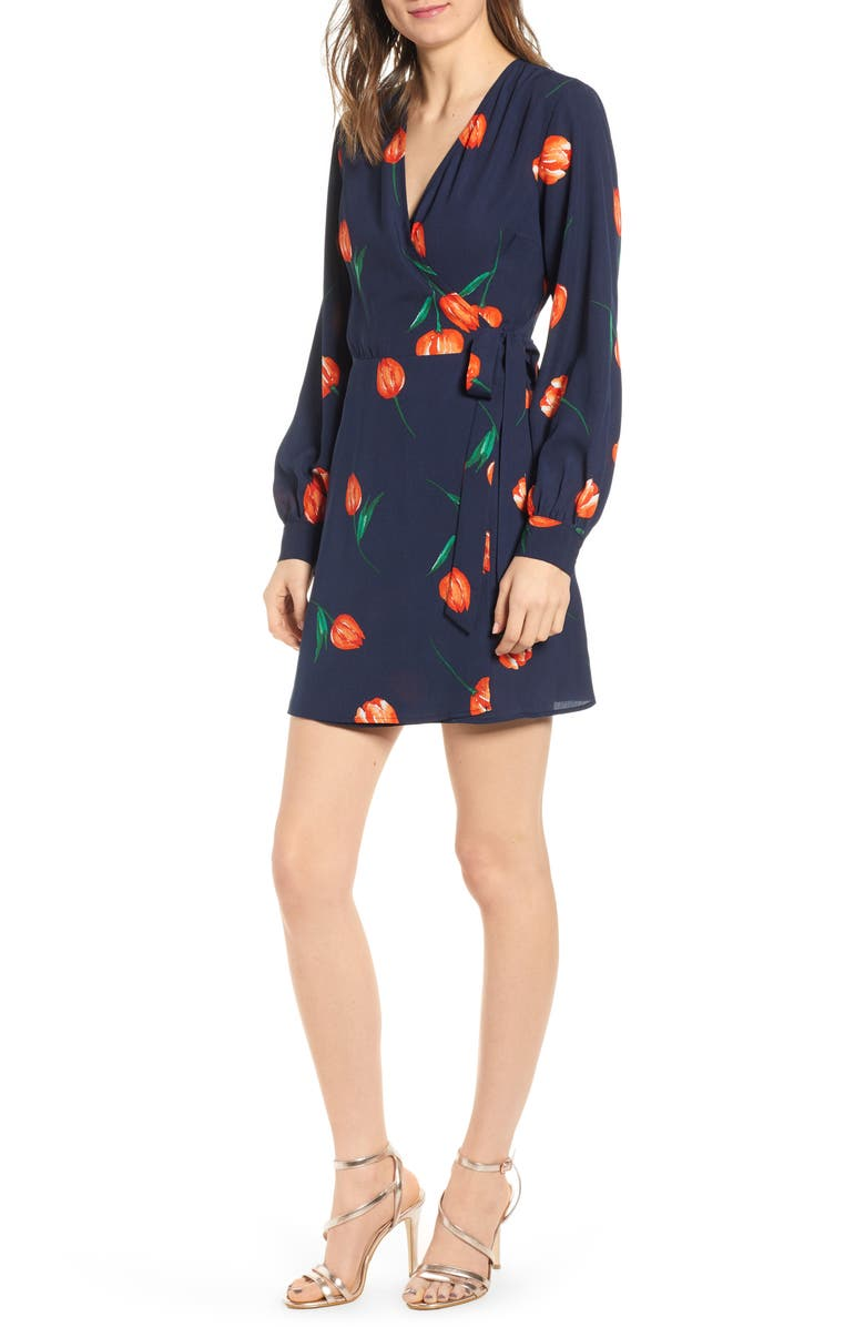ALL IN FAVOR Floral Wrap Mini Dress, Main, color, 400