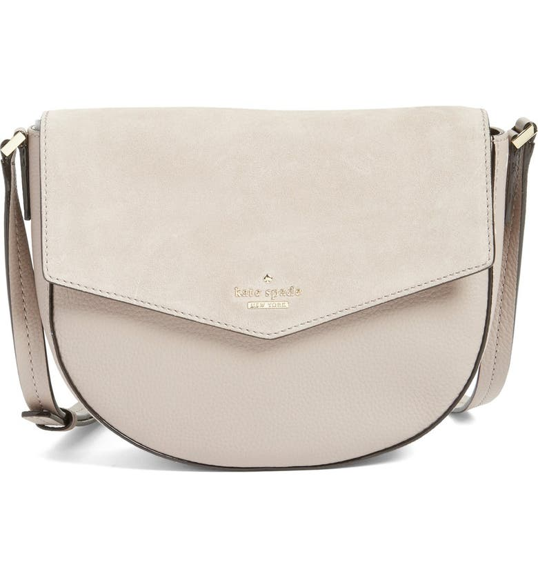 KATE SPADE NEW YORK 'spencer court - lavinia' leather & suede crossbody bag, Main, color, DARK MOUSSE FROSTING