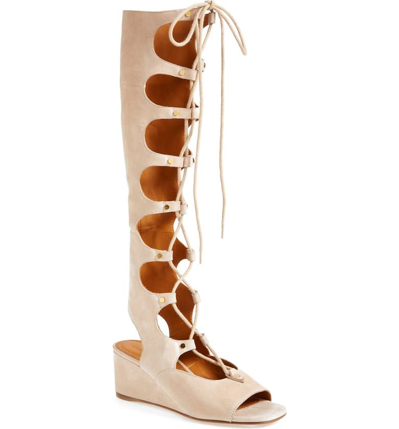 CHLOÉ 'Foster' Suede Wedge Gladiator Sandal, Main, color, CREAM