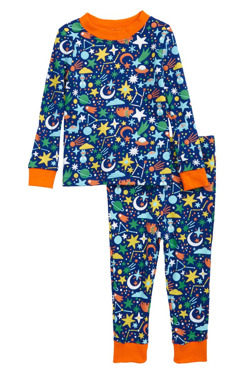 TUCKER + TATE Fitted Two-Piece Pajamas, Main, color, BLUE SURF DINO CONSTELLATIONS