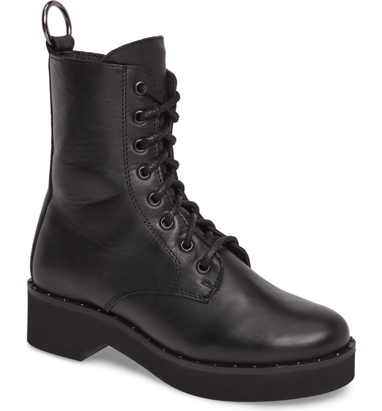 STEVE MADDEN Rocco Combat Boot, Main, color, BLACK LEATHER