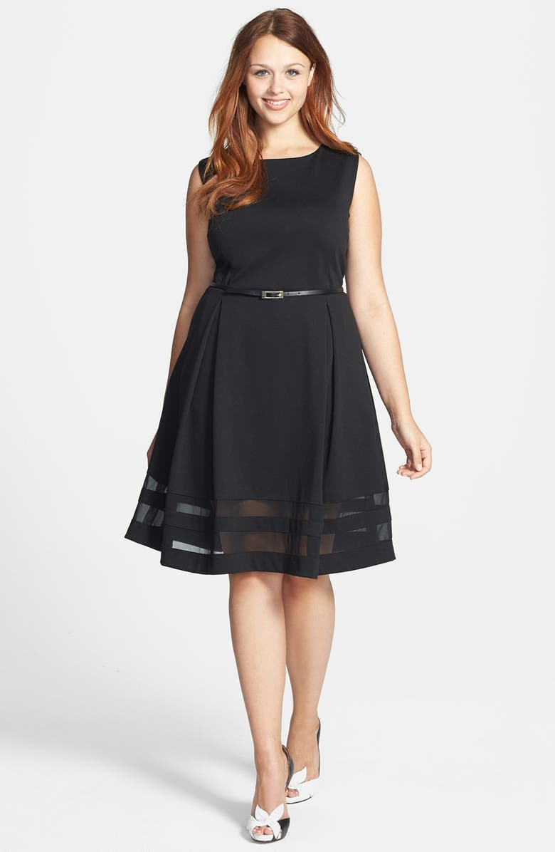 CALVIN KLEIN Belted Ponte Fit & Flare Dress, Main, color, 002