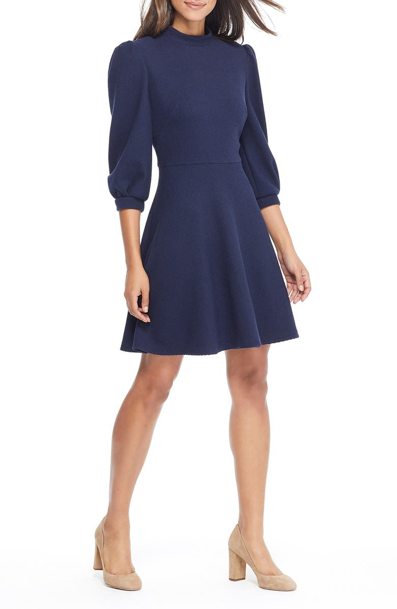 GAL MEETS GLAM COLLECTION Maggie Texture Knit Fit & Flare Dress, Main, color, 462