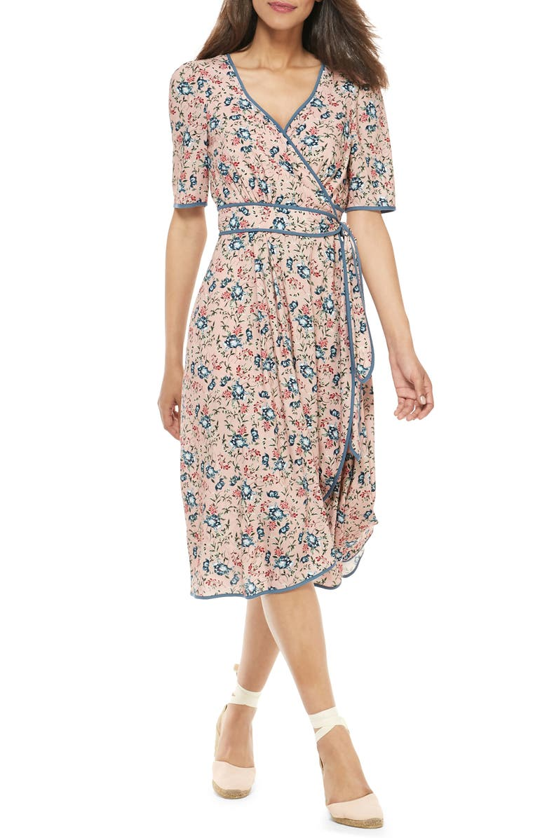 GAL MEETS GLAM COLLECTION Isadora Floral Print Wrap Midi Dress, Main, color, 680