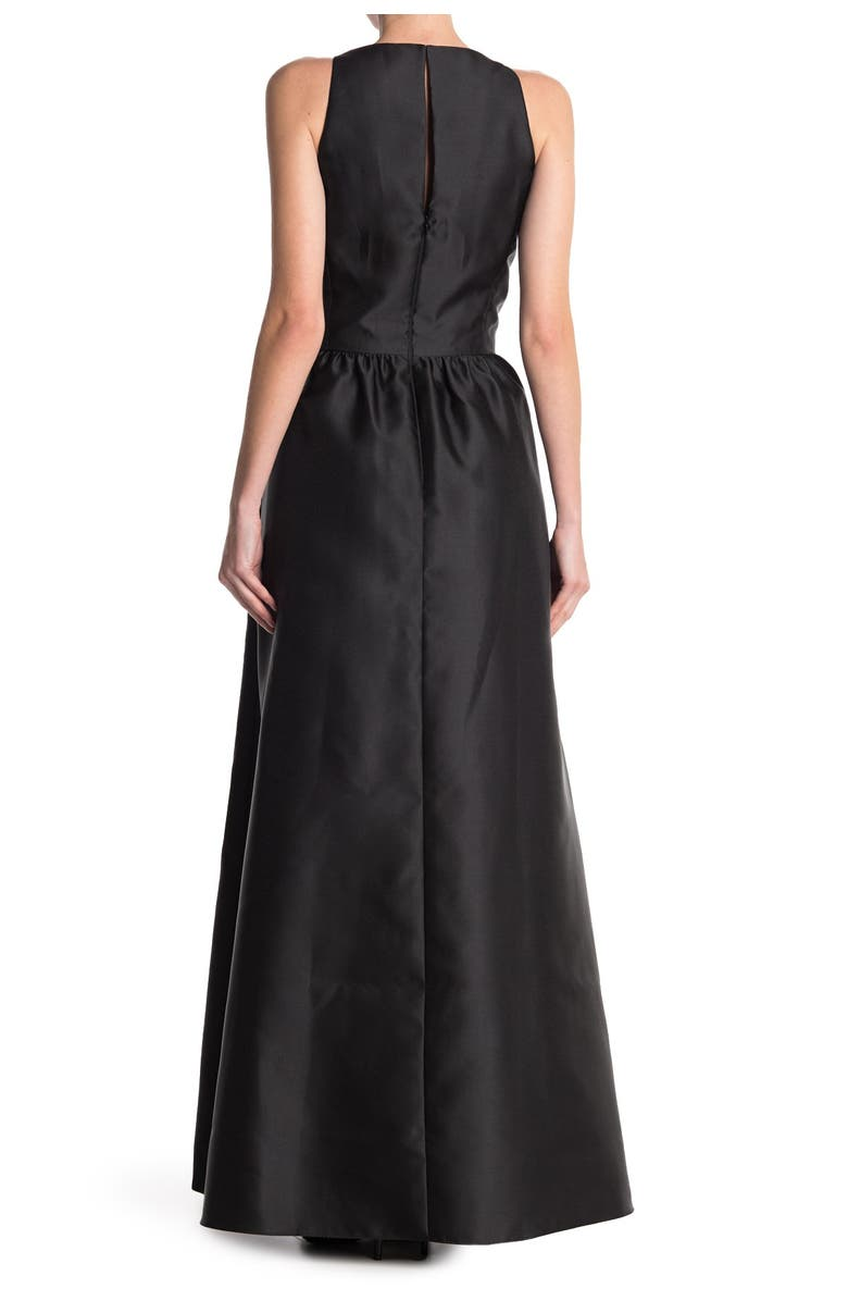 ALFRED SUNG Satin A-Line Gown, Main, color, BLACK