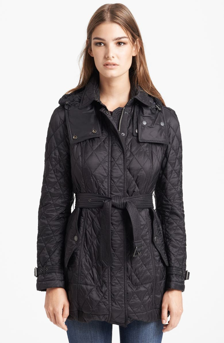 BURBERRY Finsbridge Belted Quilted Jacket, Main, color, 001