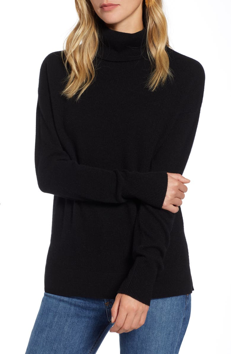 HALOGEN<SUP>®</SUP> Cashmere Turtleneck Sweater, Main, color, 001
