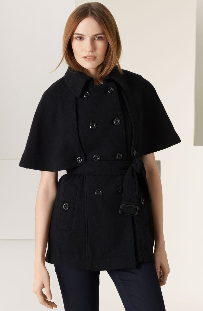 BURBERRY LONDON Felted Merino Wool Capelet, Main, color, 001