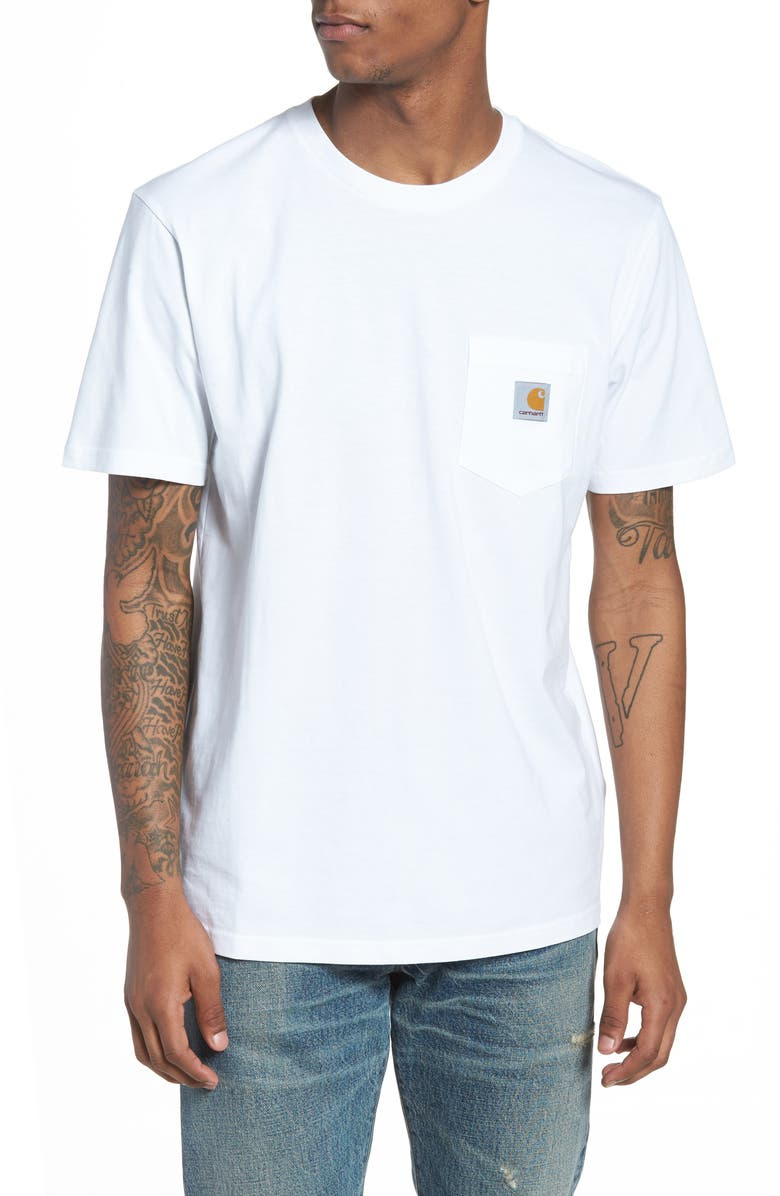 CARHARTT WORK IN PROGRESS Logo Pocket T-Shirt, Main, color, WHITE