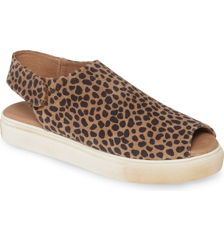 CHOCOLAT BLU Neila Open Toe Flat, Main, color, LEOPARD PRINT SUEDE