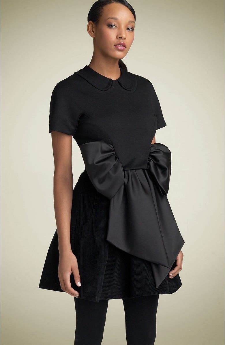 MARC BY MARC JACOBS Cotton Twill Bow Dress, Main, color, 001