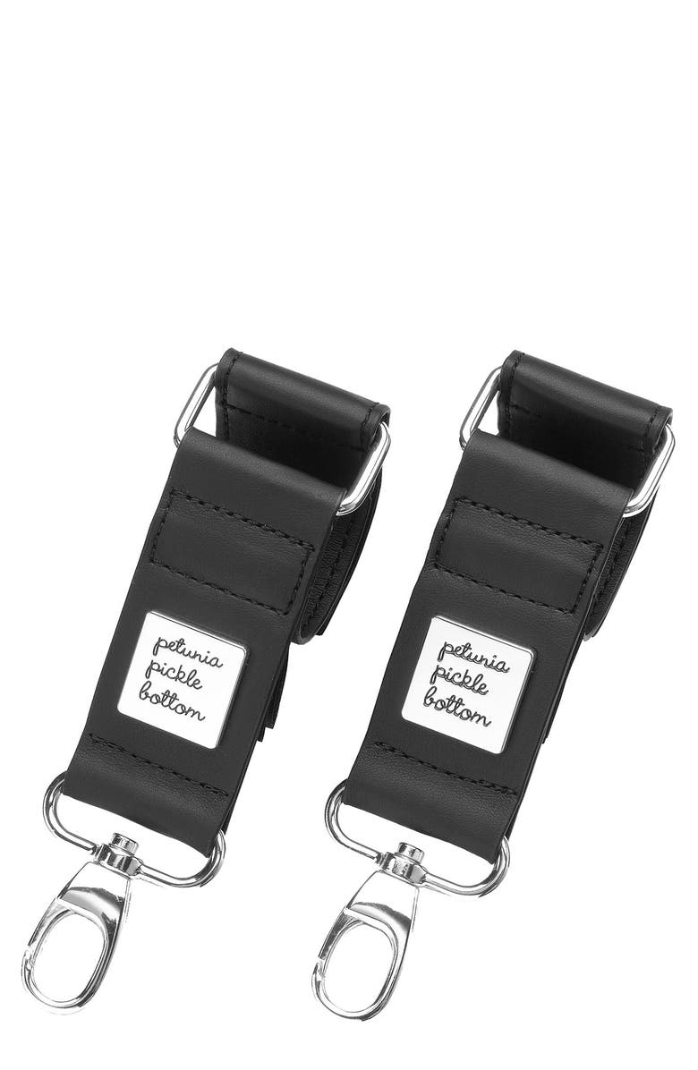 PETUNIA PICKLE BOTTOM Faux Leather Valet Stroller Clips, Main, color, BLACK/SILVER