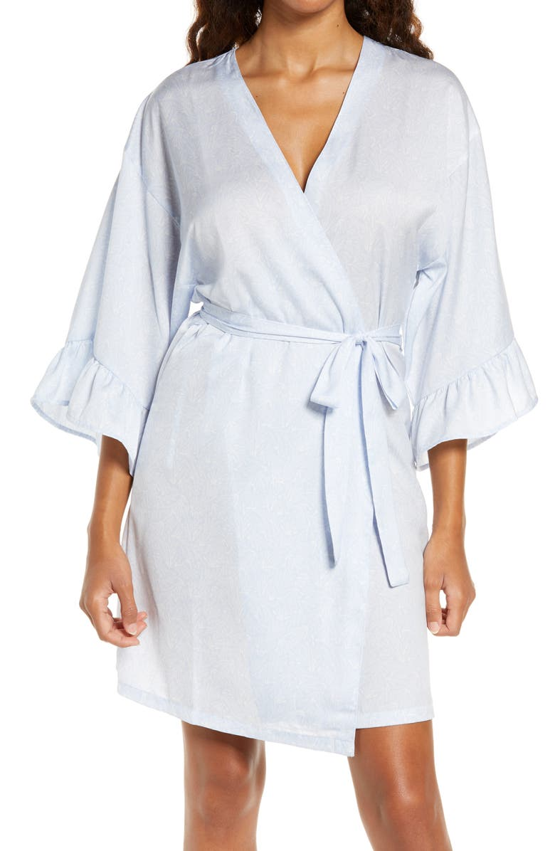 NORDSTROM Ruffle Trim Satin Robe, Main, color, 450