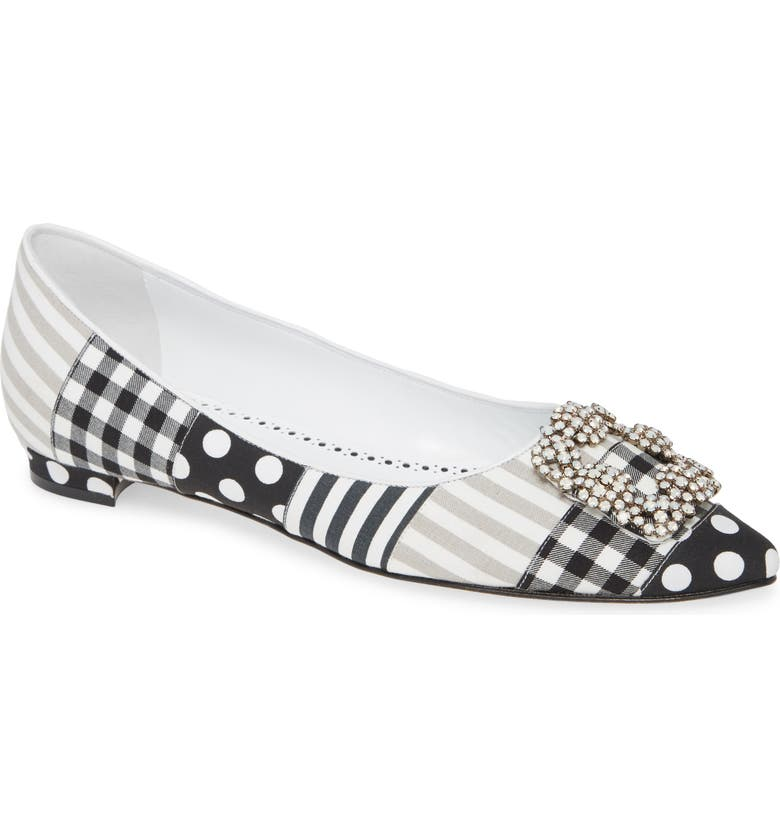 MANOLO BLAHNIK Hangisi Patch Pointy Toe Flat, Main, color, 102