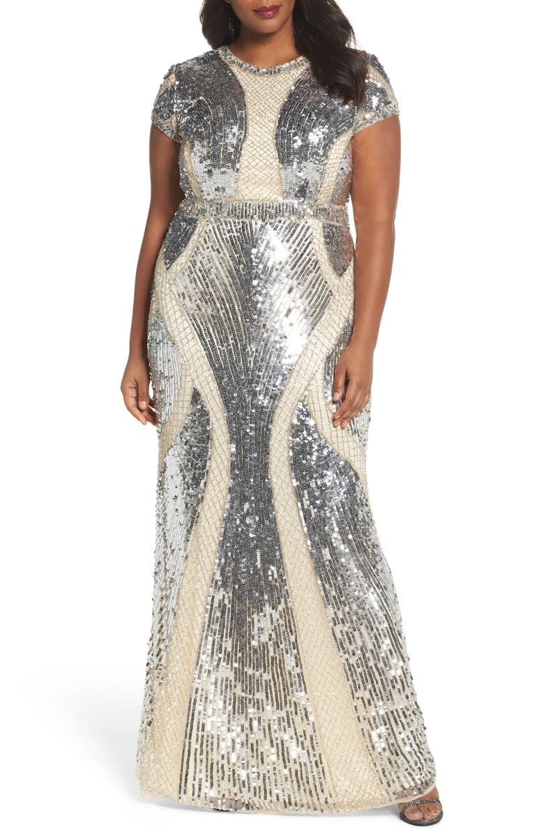 MAC DUGGAL Jewel Neck Sequin Gown, Main, color, SILVER/ NUDE
