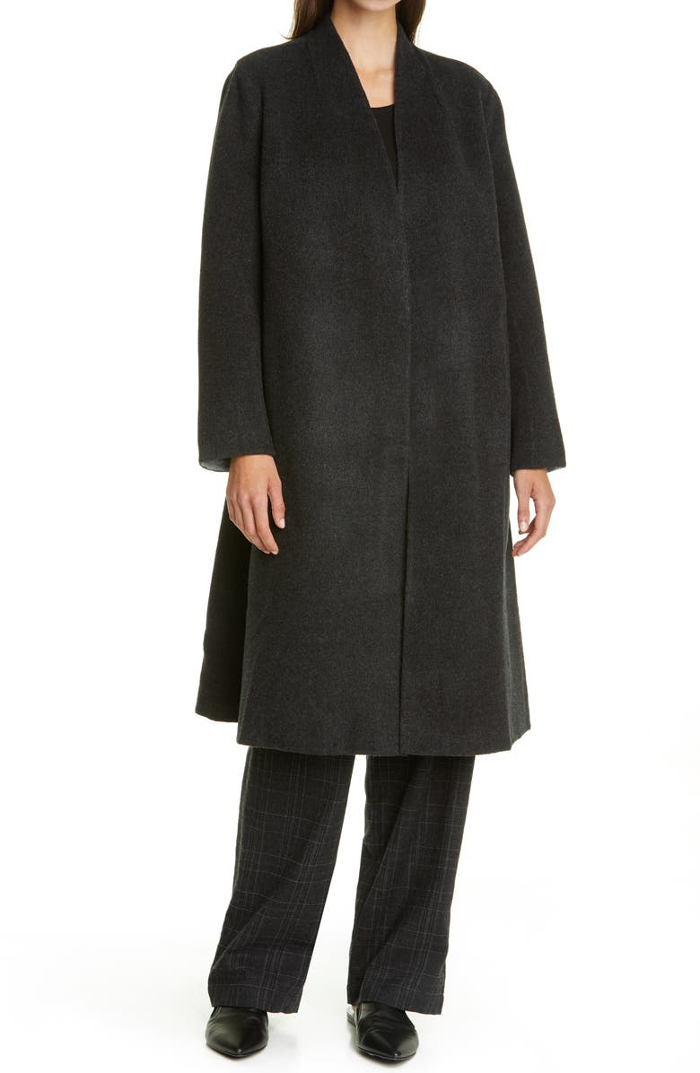 EILEEN FISHER Wool & Cashmere Coat, Main, color, CHARCOAL/ MOON