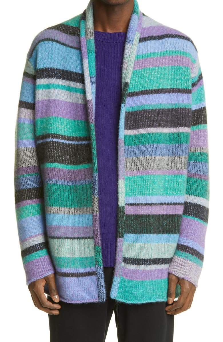 THE ELDER STATESMAN Italy Cashmere Smoking Jacket, Main, color, TURQUOISE/ YELLOW/ PERIWINKLE