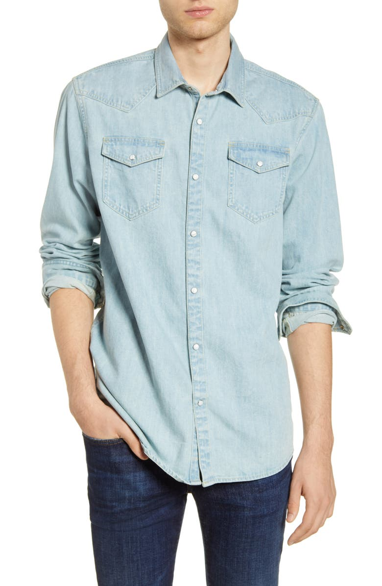 SCOTCH & SODA Denim Snap-Up Western Shirt, Main, color, 415