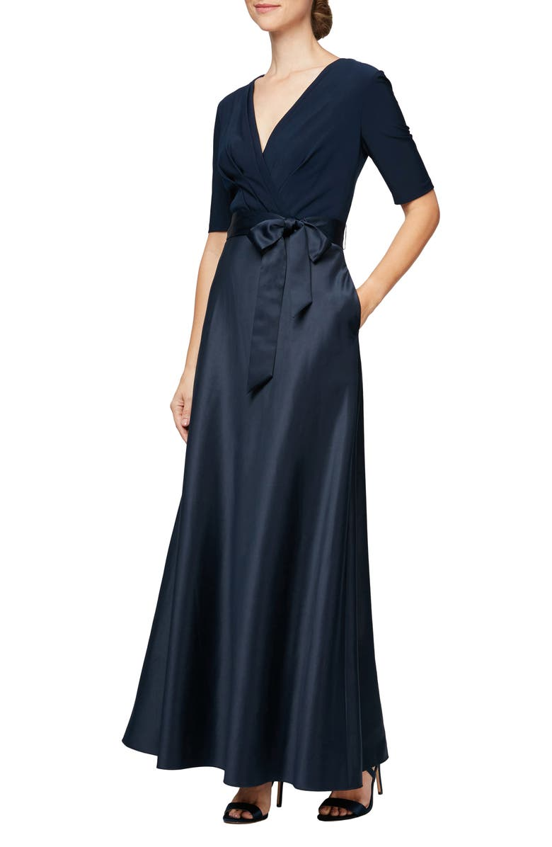 ALEX EVENINGS Mixed Media Gown, Main, color, 410