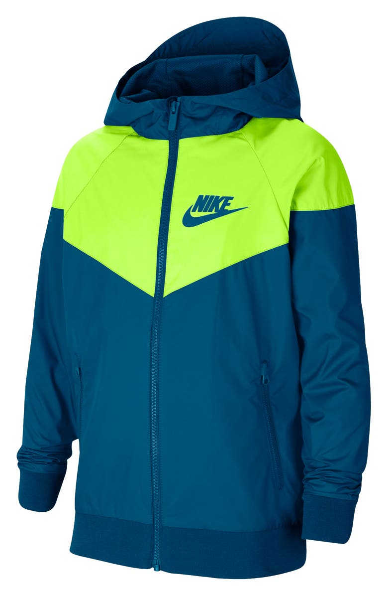 NIKE Windrunner Water Resistant Hooded Jacket, Main, color, GREEN ABYSS/VOLT
