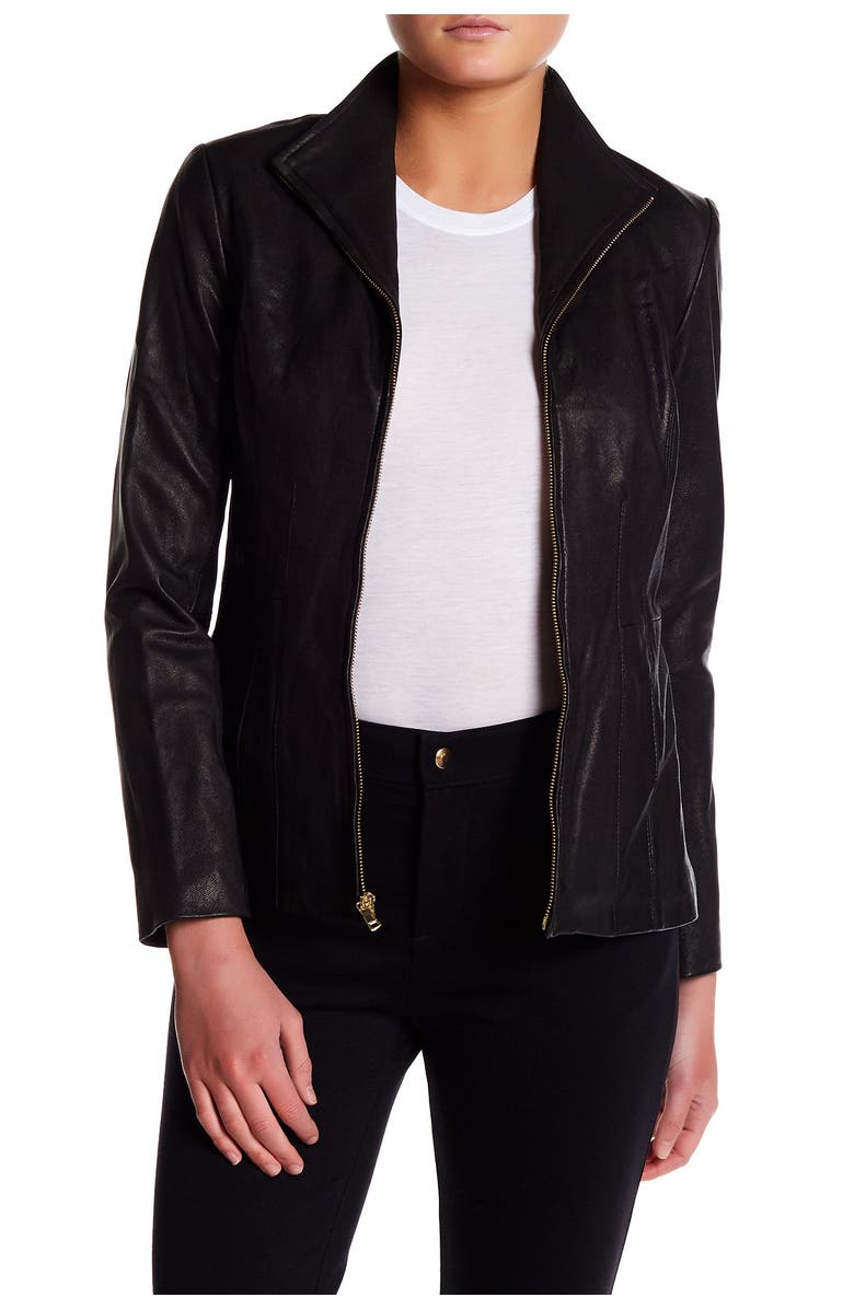COLE HAAN Leather Front Zip Wing Collar Jacket, Main, color, BLACK