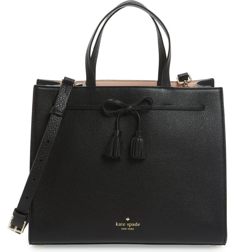 KATE SPADE NEW YORK hayes street isobel leather satchel, Main, color, 001