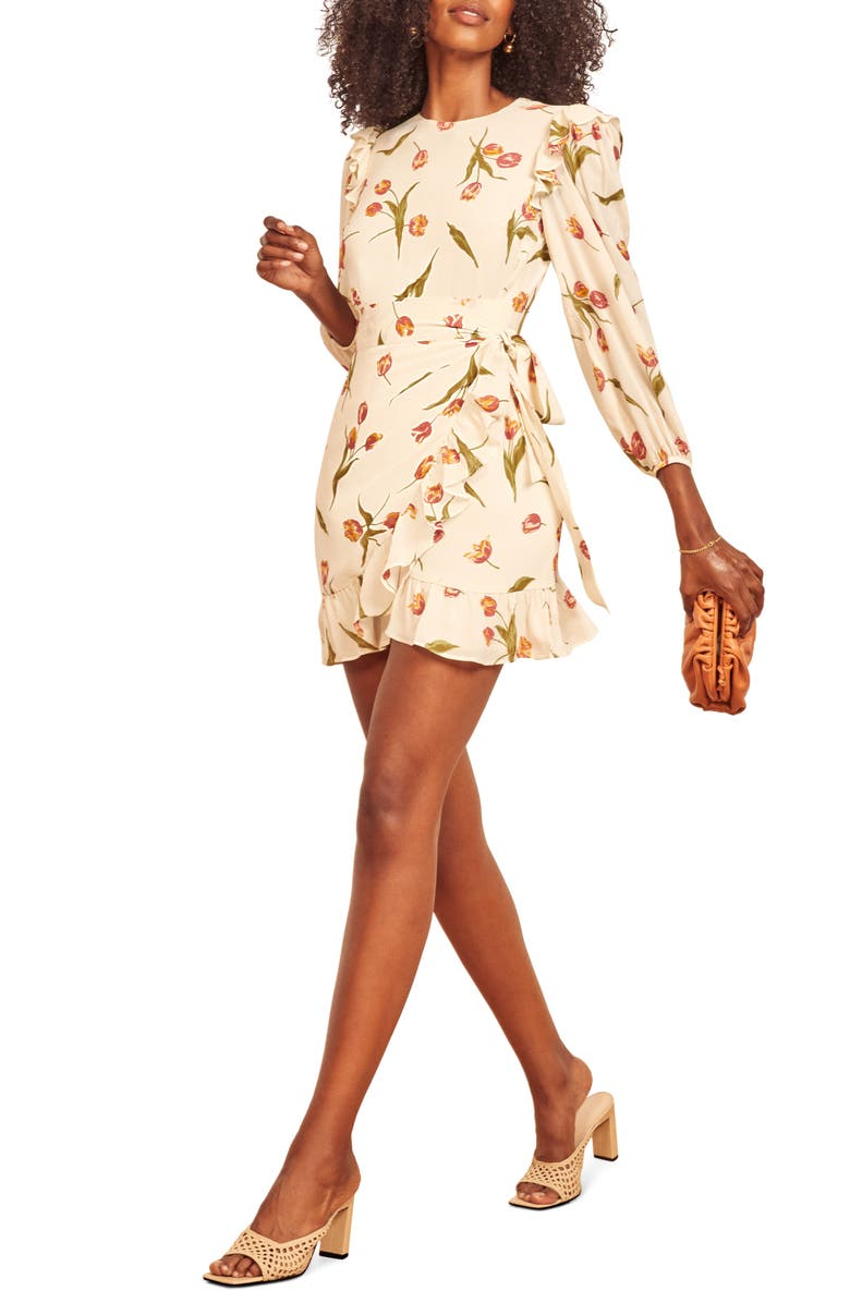 REFORMATION Quest Long Sleeve Minidress, Main, color, 100