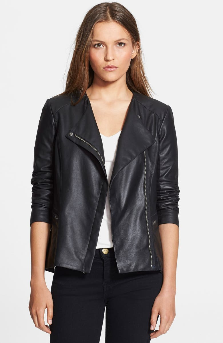 VEDA 'Aires' Asymmetrical Zip Leather Jacket, Main, color, 001
