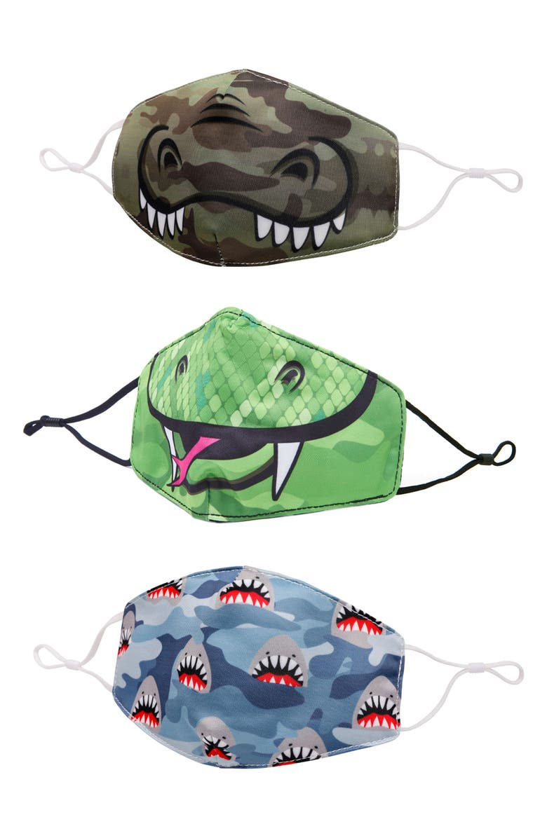 OMG ACCESSORIES 3-Pack Animal Camo Print Face Masks, Main, color, MULTI