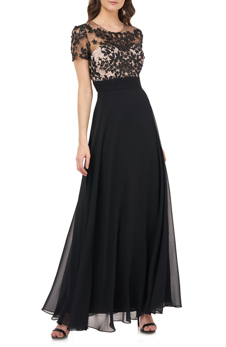 JS COLLECTIONS Embroidered A-Line Gown, Main, color, 001