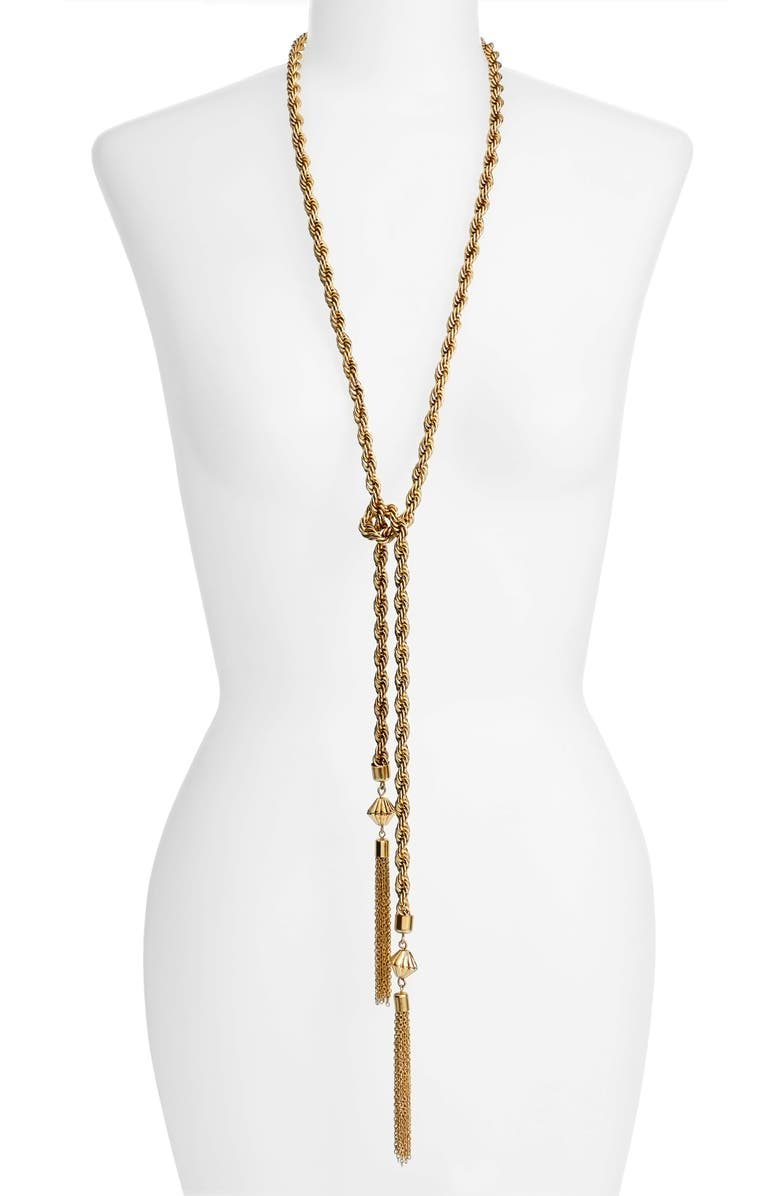 KARINE SULTAN Tassel Necklace, Main, color, GOLD