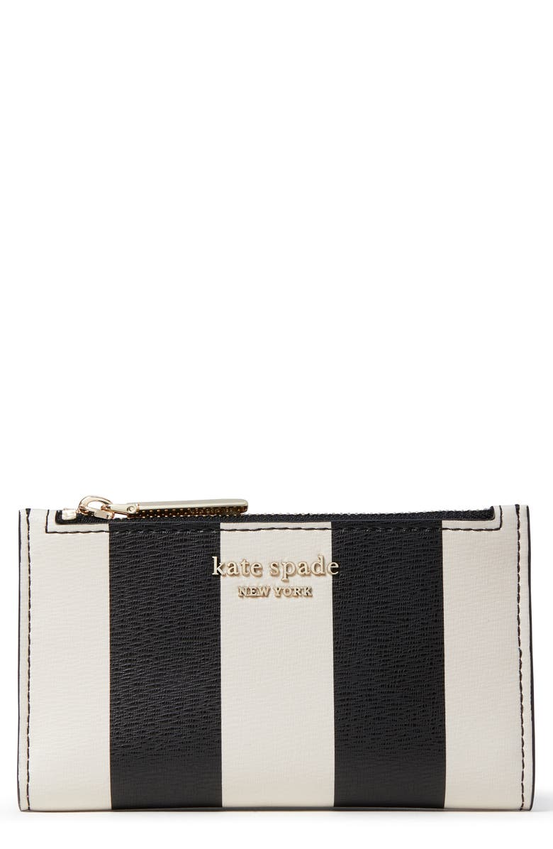 KATE SPADE NEW YORK spencer stripe small leather bifold wallet, Main, color, BLACK MULTI