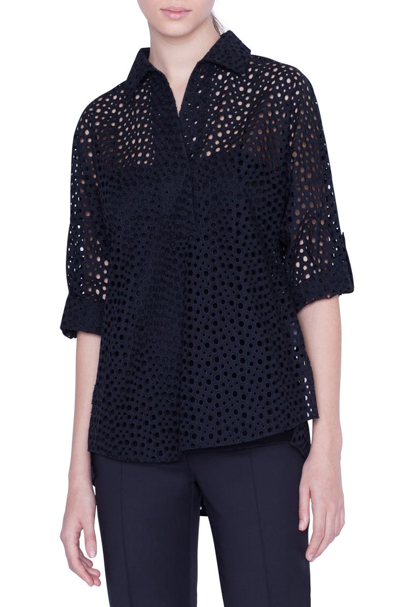 AKRIS PUNTO Sheer Broderie Anglaise Blouse, Main, color, 001
