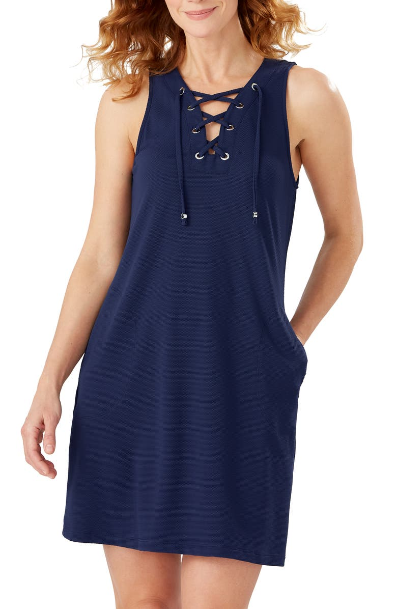 TOMMY BAHAMA Colorblock Lace-Up Cover-Up Dress, Main, color, AZURE BLUE