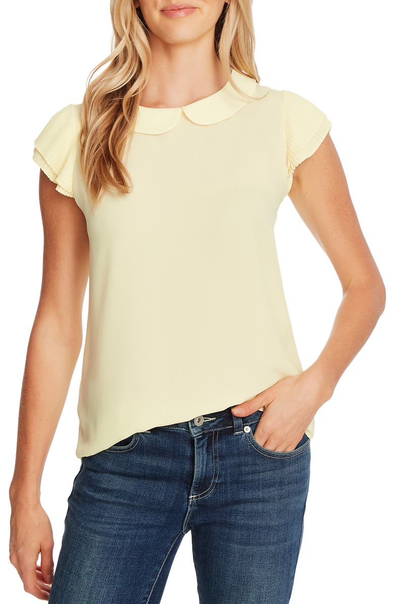 CECE Collared Pleated Cap Sleeve Blouse, Main, color, LEMONADE