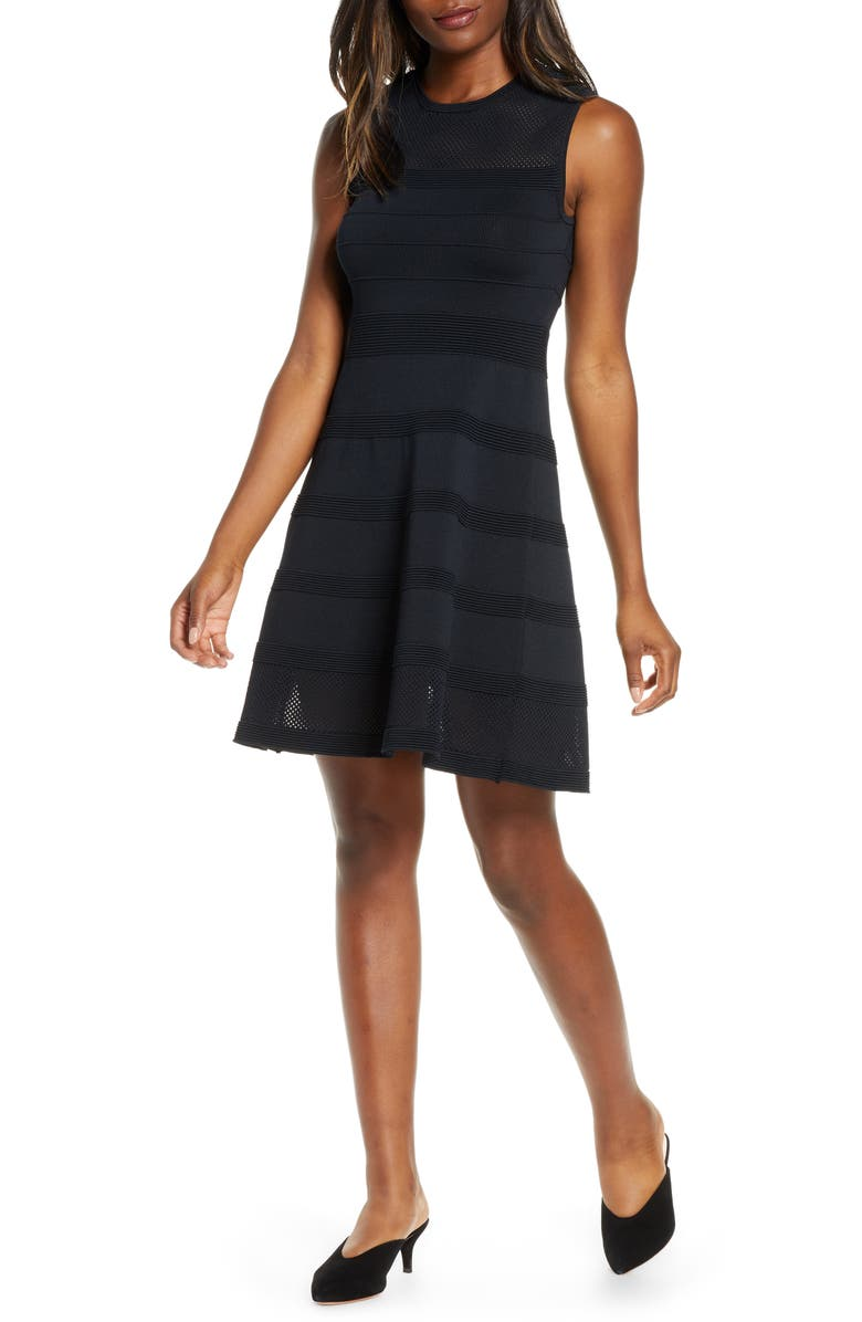 VINCE CAMUTO Sleeveless Mesh Fit & Flare Sweater Dress, Main, color, 001