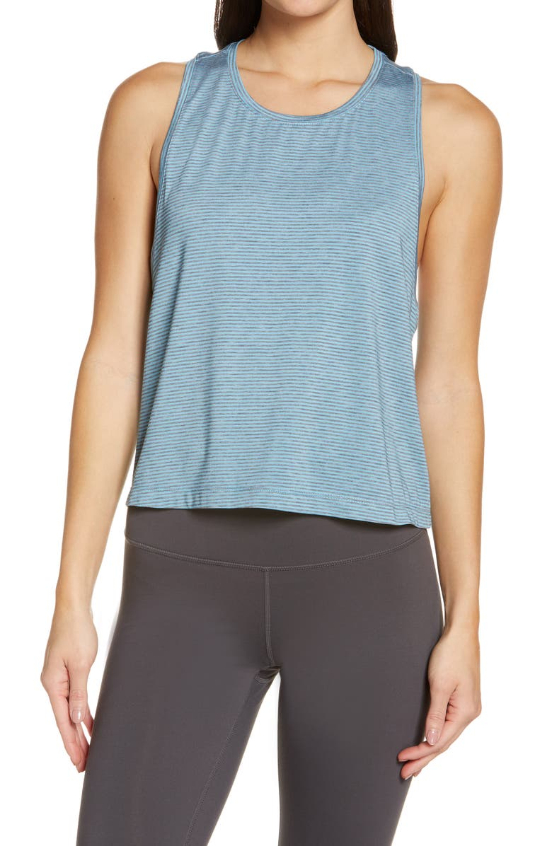 ZELLA Work For It Stripe Tank Top, Main, color, TEAL DOLPHIN