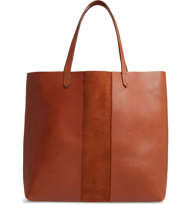 MADEWELL Suede Stripe Transport Leather Tote, Main, color, 200