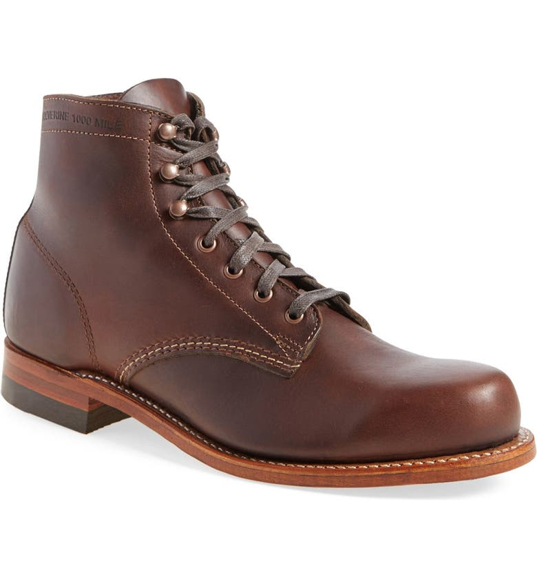 WOLVERINE '1000 Mile' Plain Toe Boot, Main, color, BROWN