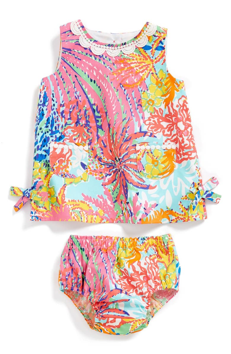LILLY PULITZER<SUP>®</SUP> 'Baby Lilly' Cotton Shift Dress & Bloomers, Main, color, 999 MULTI