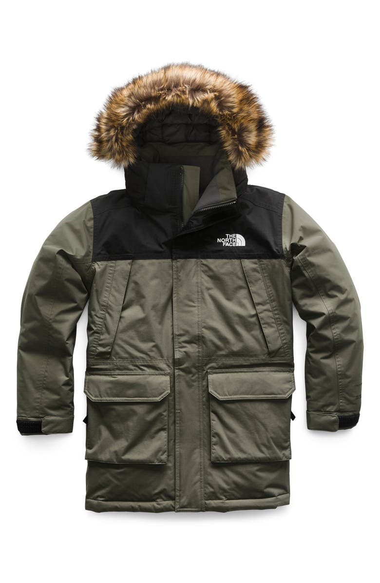 THE NORTH FACE McMurdo Waterproof 550 Fill Power Down Parka with Faux Fur Trim, Main, color, NEW TAUPE GREEN