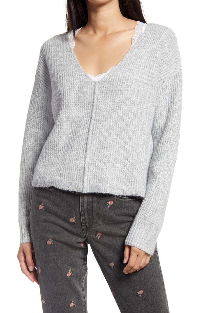 BP. Weekend V-Neck Sweater, Main, color, GREY MEDIUM HEATHER