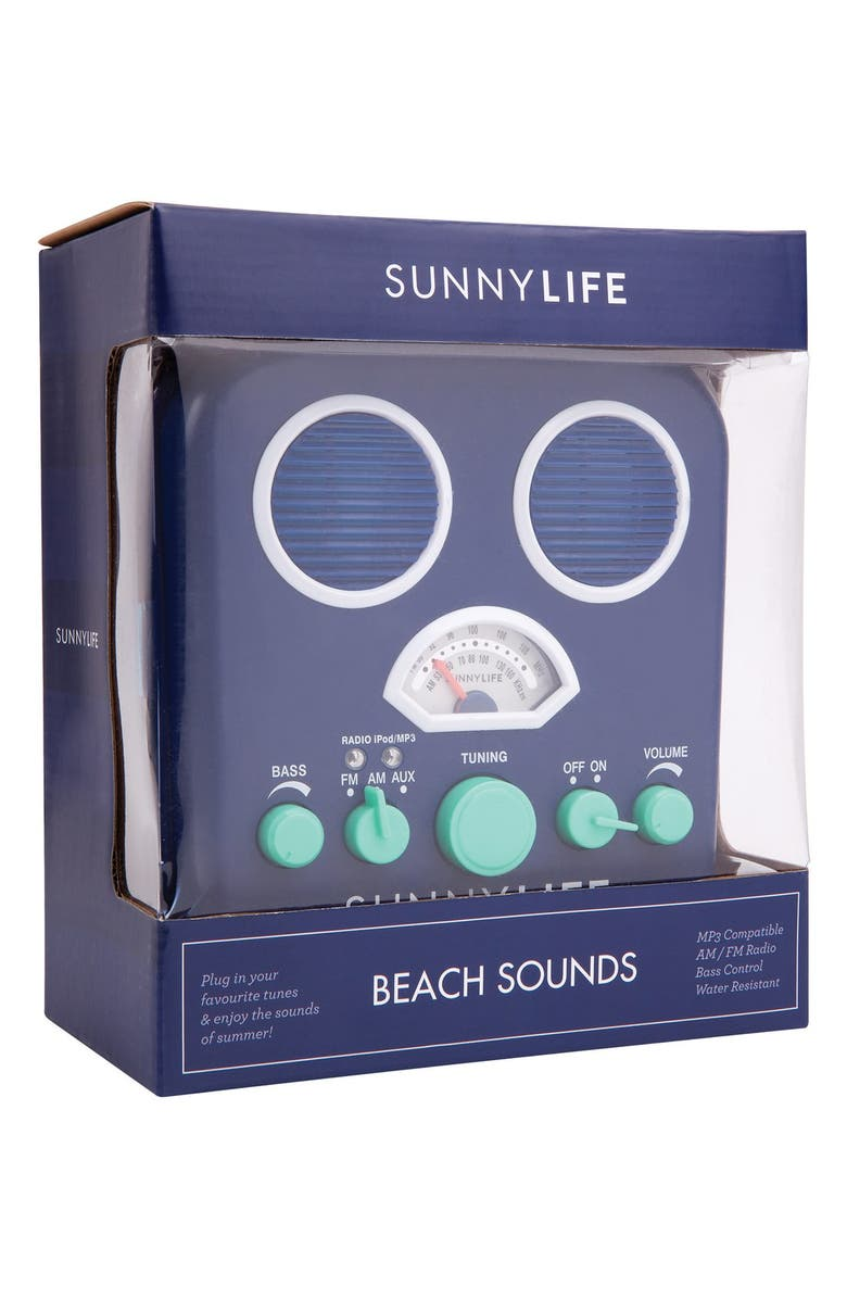SUNNYLIFE 'Beach Sounds' Portable Water Resistant Speaker & Radio, Main, color, BLUE