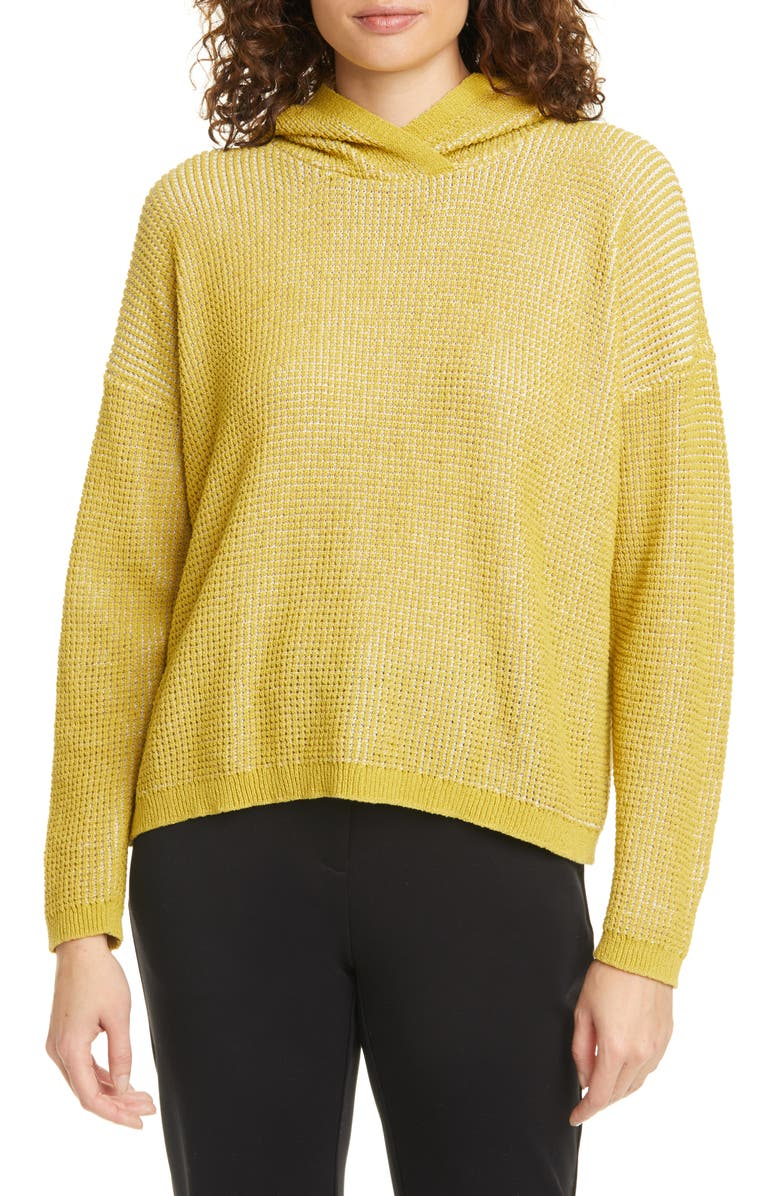 EILEEN FISHER Organic Cotton Blend Hooded Sweater, Main, color, 362